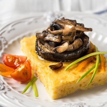 Polenta filled with porcini mushrooms